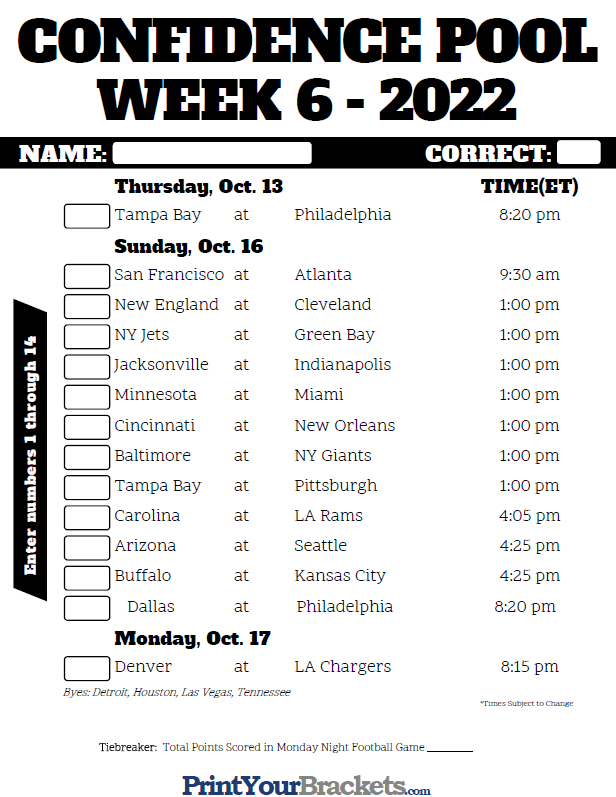 Nfl Week 6 Confidence Pool Sheet 2020 Printable