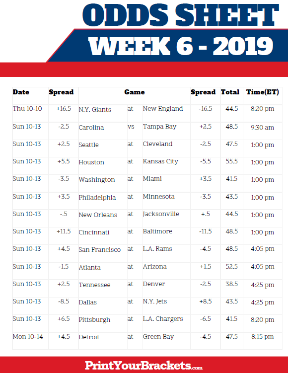 Ridiculous image for nfl week 6 printable schedule
