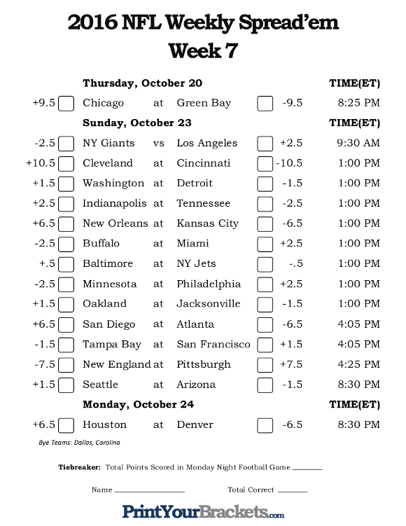Printable NFL Week 7 Against the Spread Pick 'em Sheets