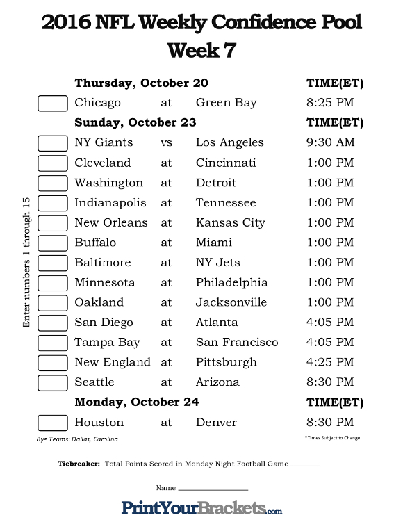 Printable NFL Week 7 Confidence Pool