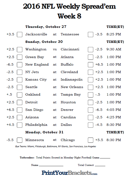 Printable NFL Week 8 Against the Spread Pick 'em Sheets