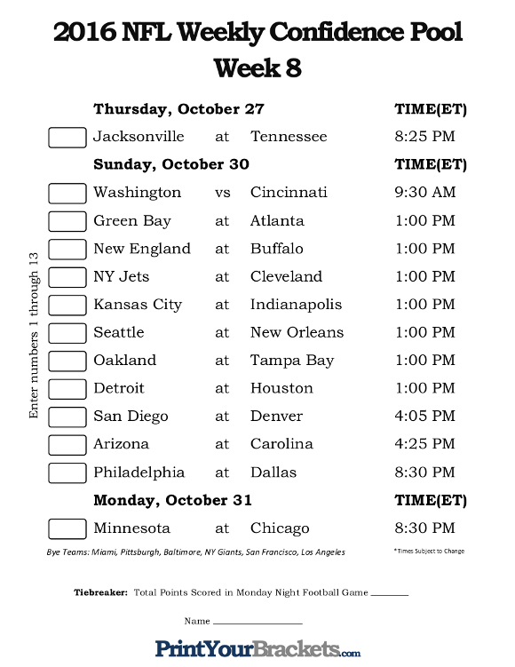 Printable NFL Week 8 Confidence Pool