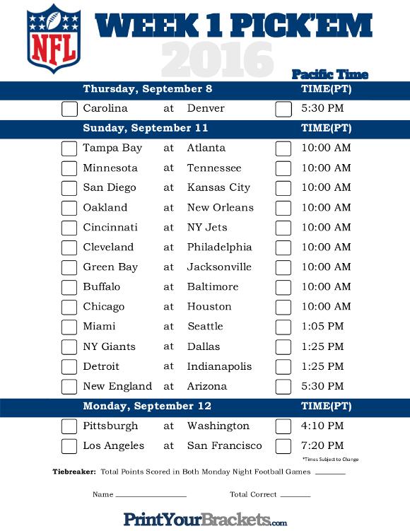 Pacific Time Week 1 NFL Schedule 2016 - Printable