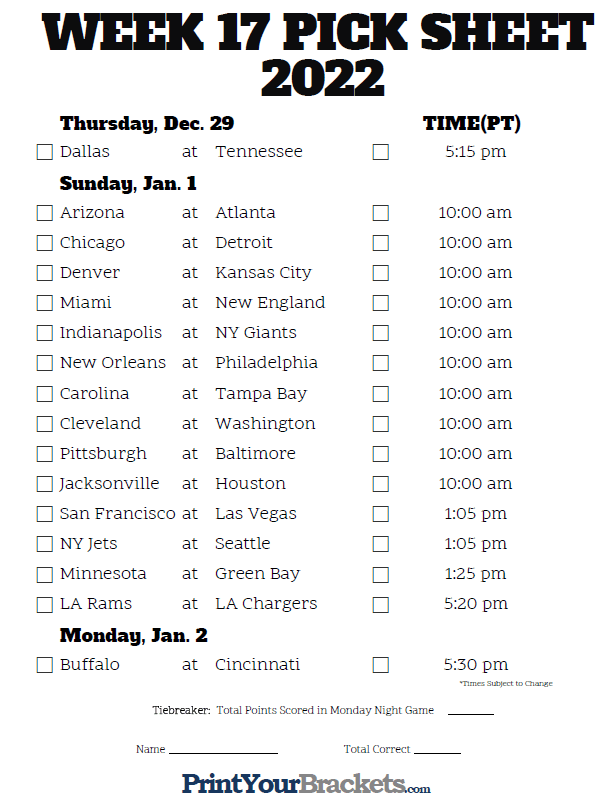 Crush image regarding nfl week 17 schedule printable