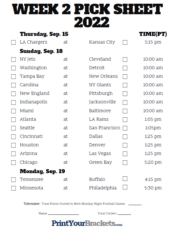 photograph regarding Nfl Week 2 Schedule Printable named Pacific Year 7 days 2 NFL Plan 2019 - Printable