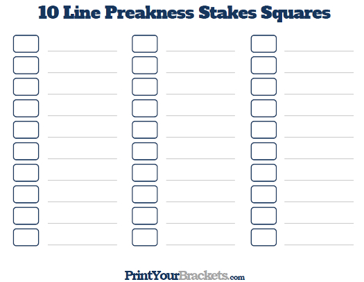 Printable Preakness Stakes Office Pool