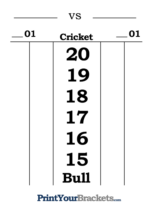 Dart Scoreboard Printable and Fillable Score Sheet – Scoreboard Sample