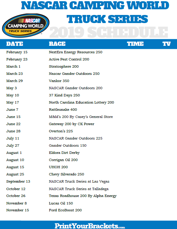 Printable Nascar Camping World