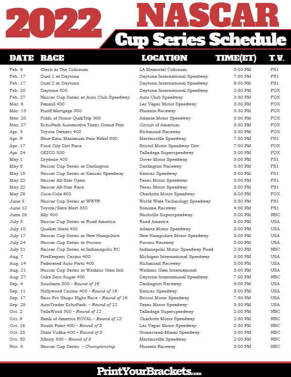 Nascar Schedule 2019 Printable 2019 Nascar Schedule   Monster Cup Series Dates & Times
