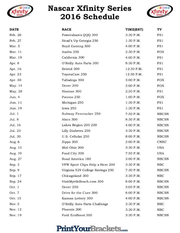 Printable Nascar Xfinity Series Schedule 2016