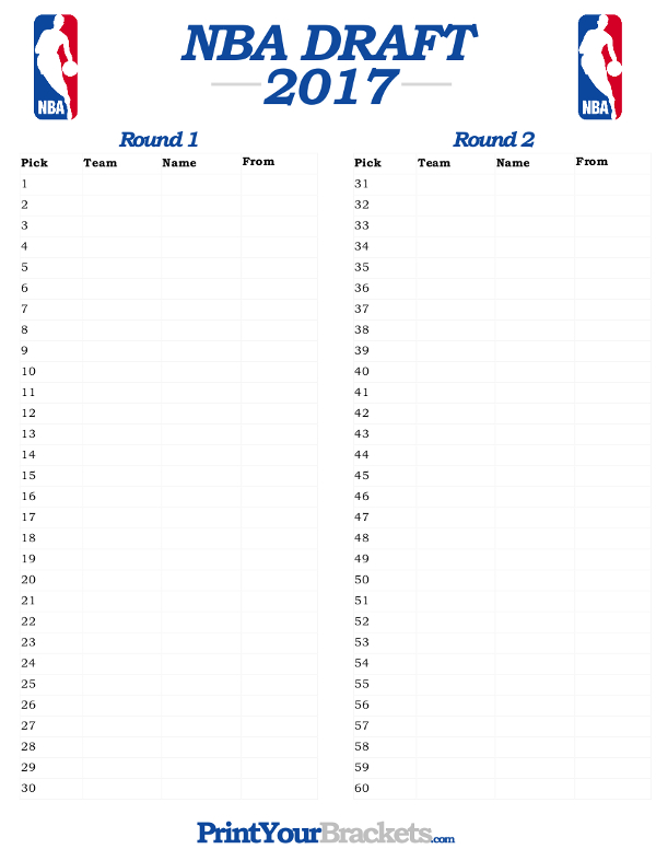 picture about Nfl Draft Sheet Printable identified as Printable 2017 NBA Draft Buy - NBA Draft Tracker Sheet