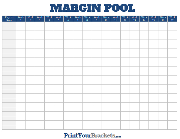photo relating to Printable Nfl Schedules referred to as NFL Margin Pool - Printable Fact Margin Place of work Pool