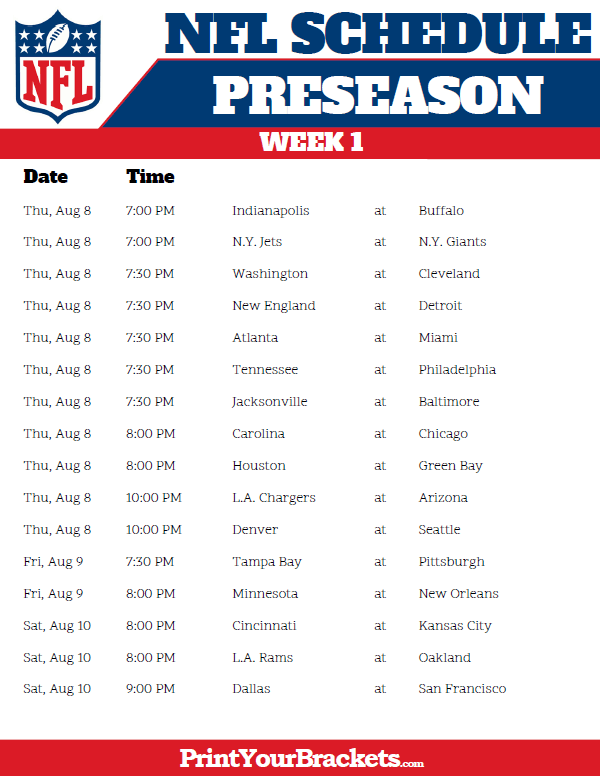 photo relating to Nfl Week 7 Printable Schedules known as Printable 2019 NFL Preseason Routine