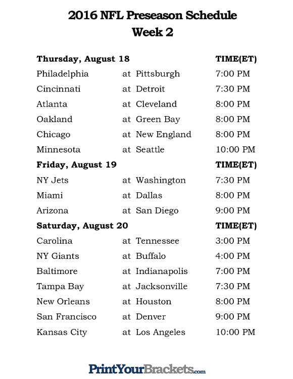 week one nfl schedule nfl overtime rules