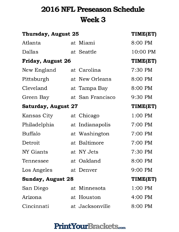 Printable Week 3 NFL Preseason Schedule