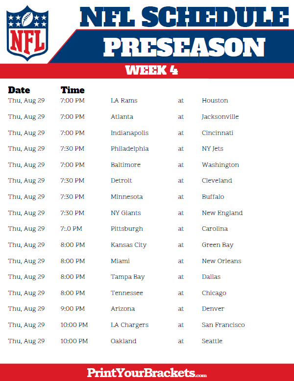 Printable Week 4 NFL Preseason Schedule