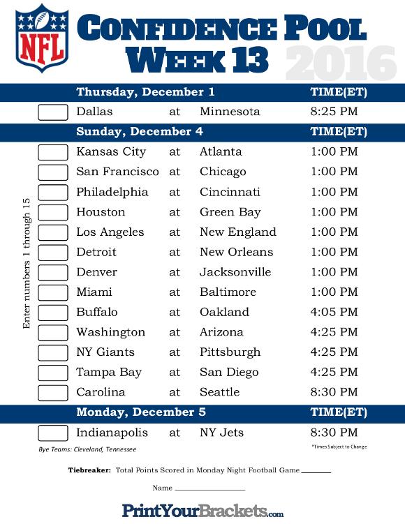 NFL Week 13 Confidence Pool Sheet - Printable