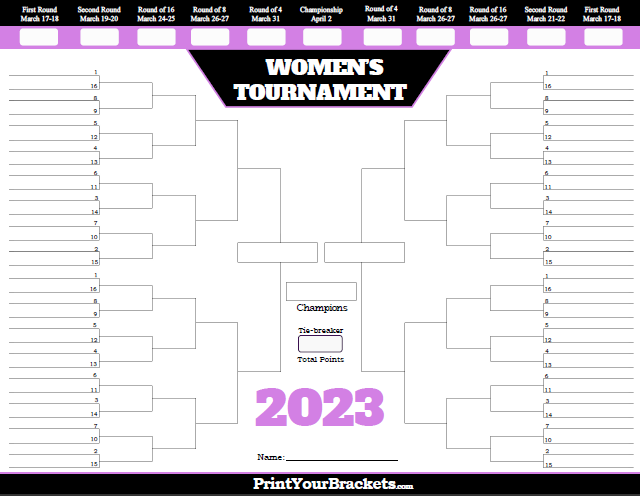 Printable 2018 Women's NCAA March Madness Tournament Bracket