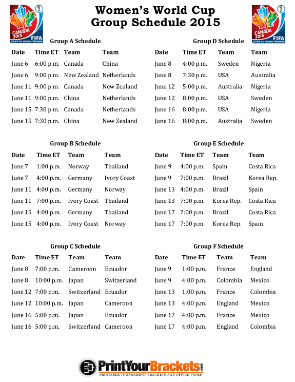 Astounding image inside women's world cup schedule printable