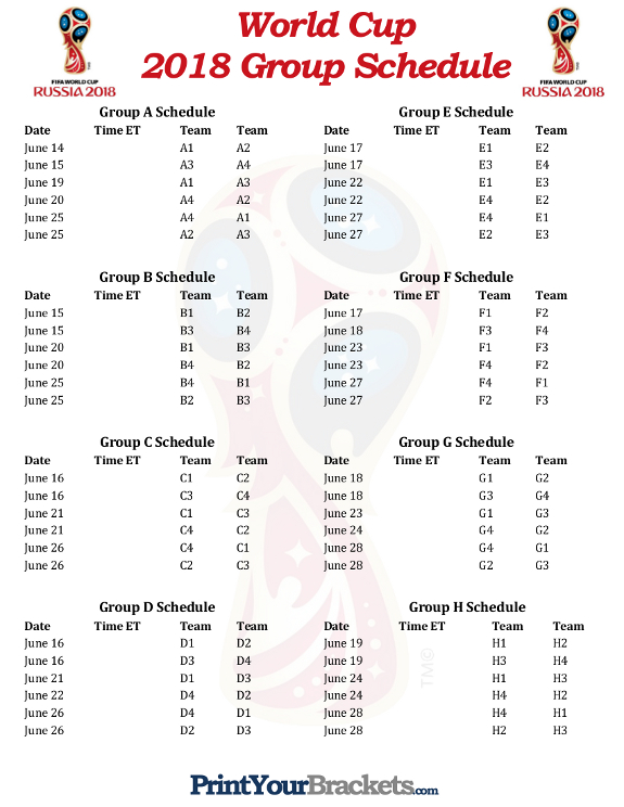 2018 World Cup Group Schedule