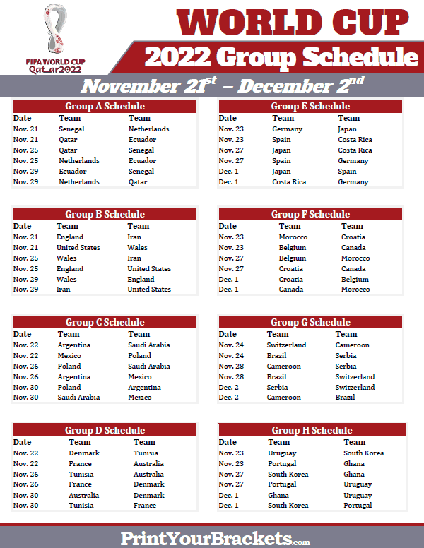 photo regarding World Cup Printable Schedule identify Printable 2018 Worldwide Cup Neighborhood Plan