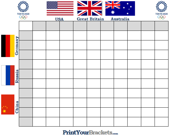 Printable Summer Olympics Square Grid Office Pool