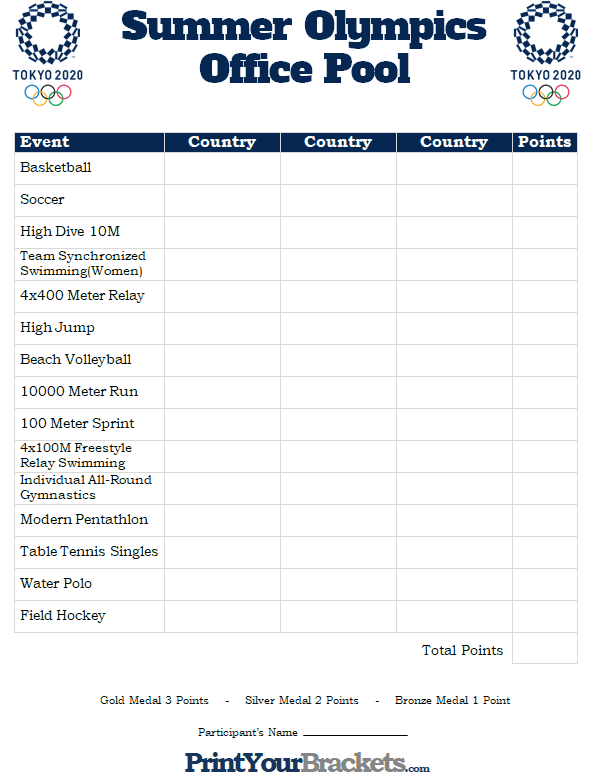 Printable Summer Olympics Office Pool