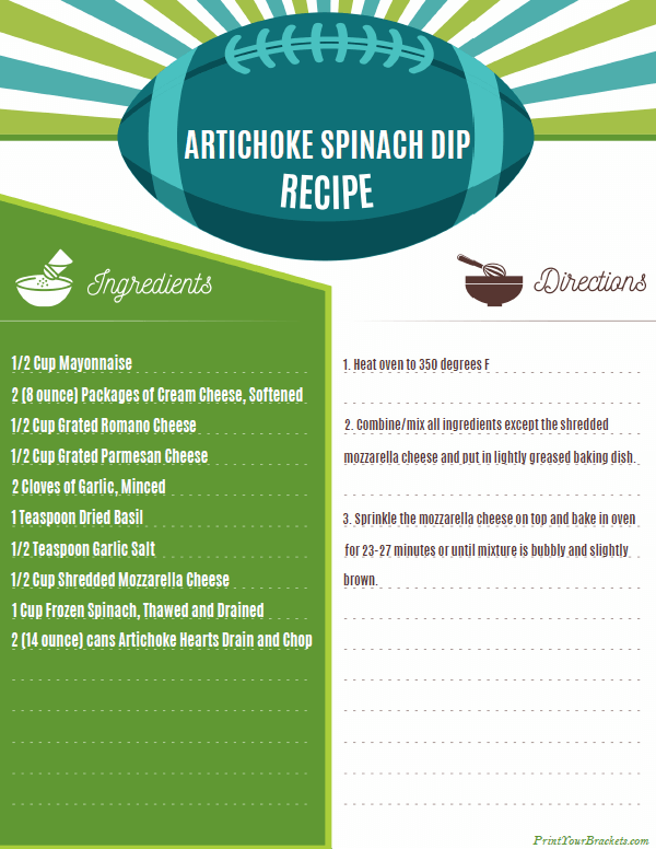Printable Artichoke Spinach Dip Recipe for Super Bowl