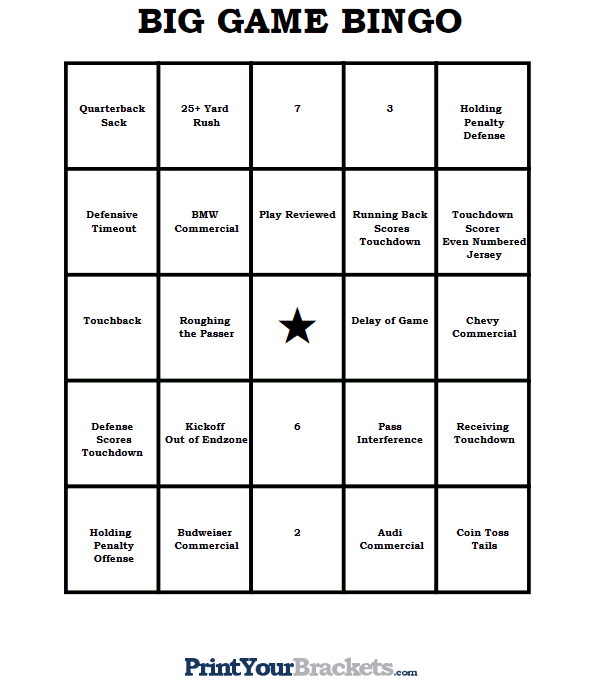 Printable Super Bowl Bingo Sheets