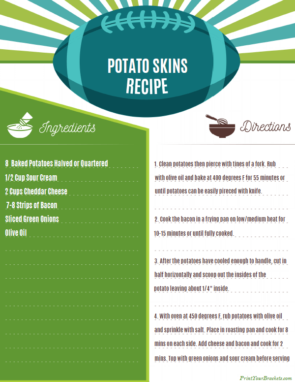 Printable Potato Skins Recipe for Super Bowl