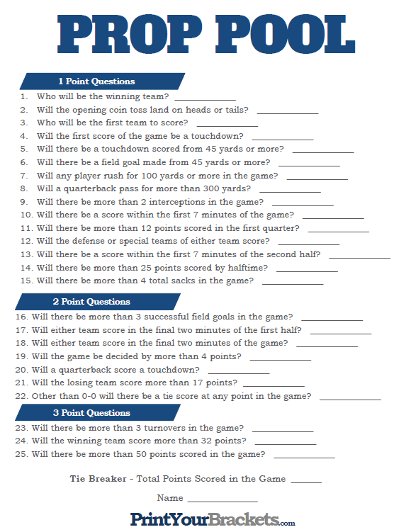 image regarding Printable Super Bowl Prop Bets named Tremendous Bowl Prop Pool - Printable Prediction Pool