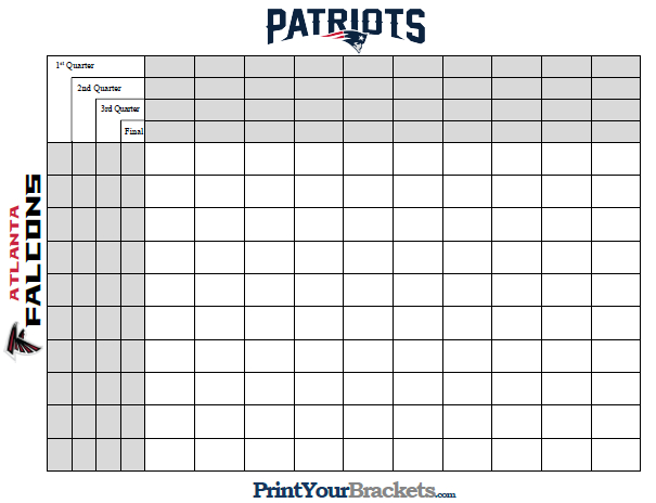 Super Bowl Squares With Quarter Lines - Printable Version