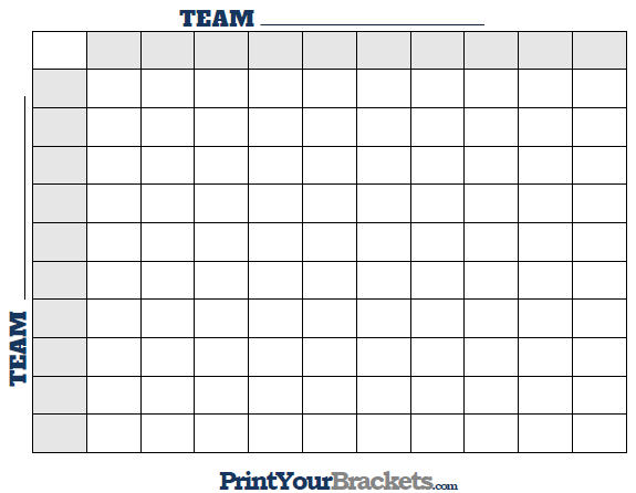 image relating to 10x10 Grids Printable known as Printable Tremendous Bowl Squares - 100 Sq. Grid Business Pool