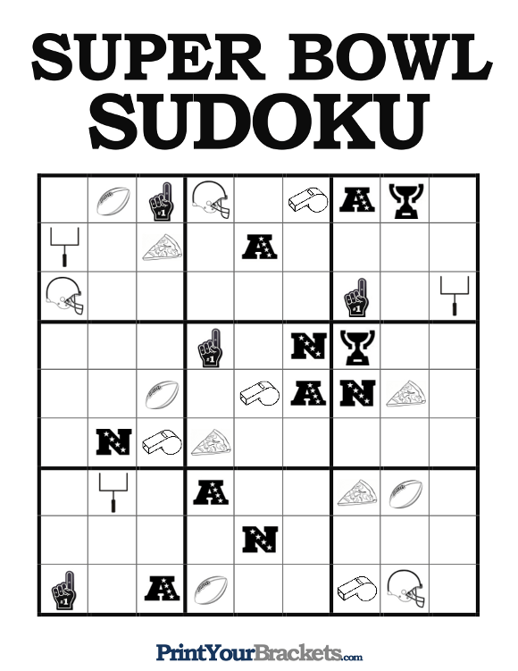 Printable Super Bowl Sudoku Game Sheets