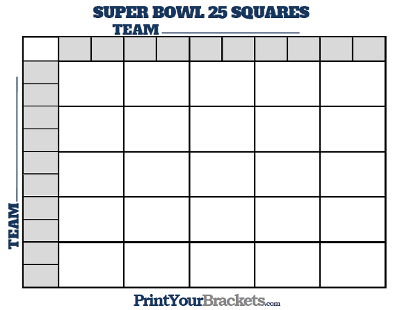 Super Bowl 25 Square Grid