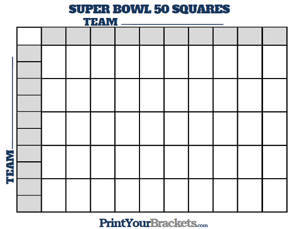 2015 Super Bowl Pool Squares Template