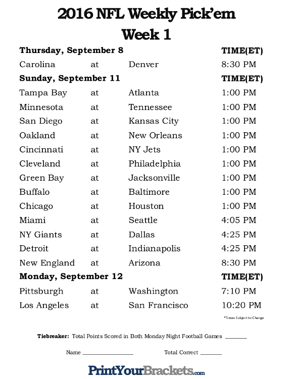 Printable NFL Week 1 Schedule Office Pool