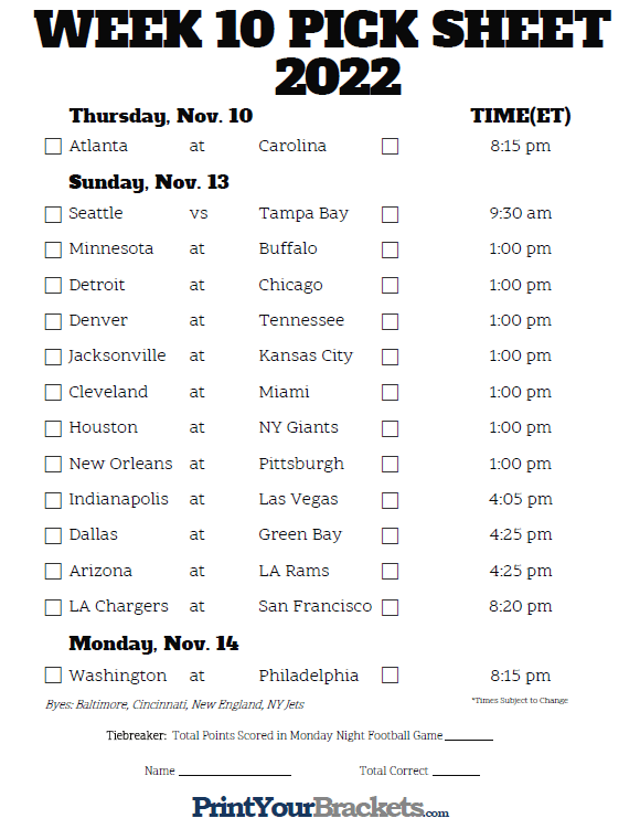 Bewitching image pertaining to nfl week 10 printable schedule