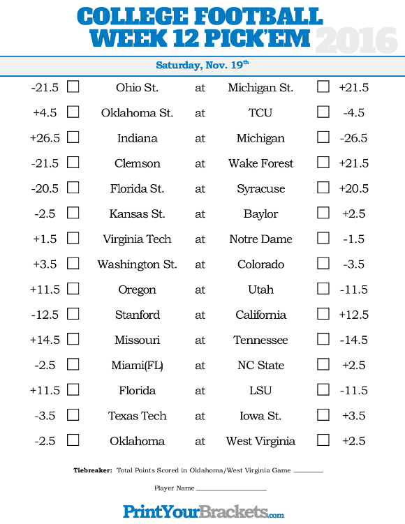 college football schedule week 12 free picks and parlays college football