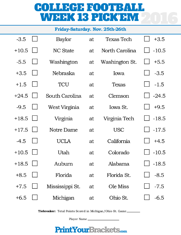 Striking image in college football pick'em printable sheets