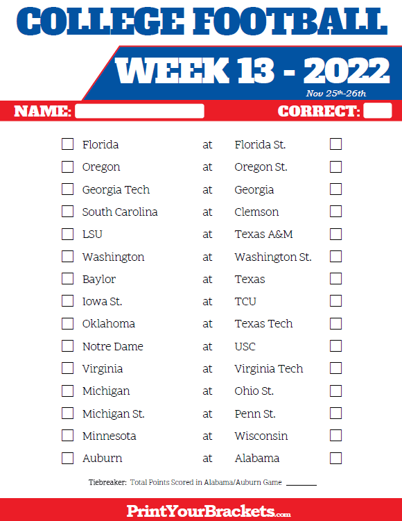 Printable College Football Week 13 Pick 'em Sheets
