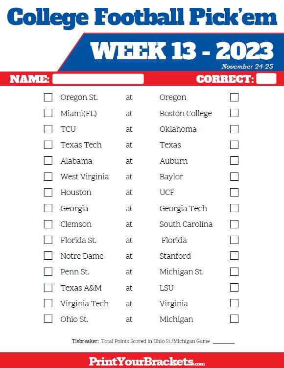 Week 13 College Football Pick Em Sheets Printable