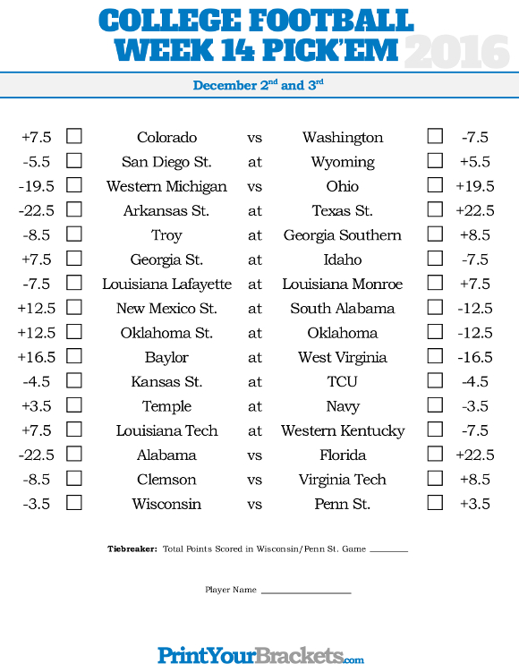 Adorable image regarding college football pick'em printable sheets