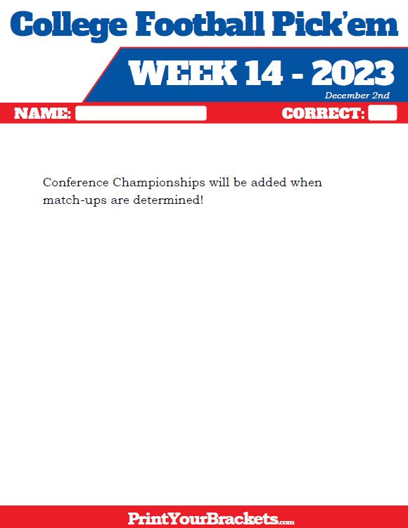 Printable Week 14 College Football Pick Em Sheets 2019