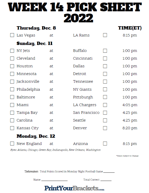 printable nfl schedule for week 14 printable nfl week 14 schedule pick em pool 2018