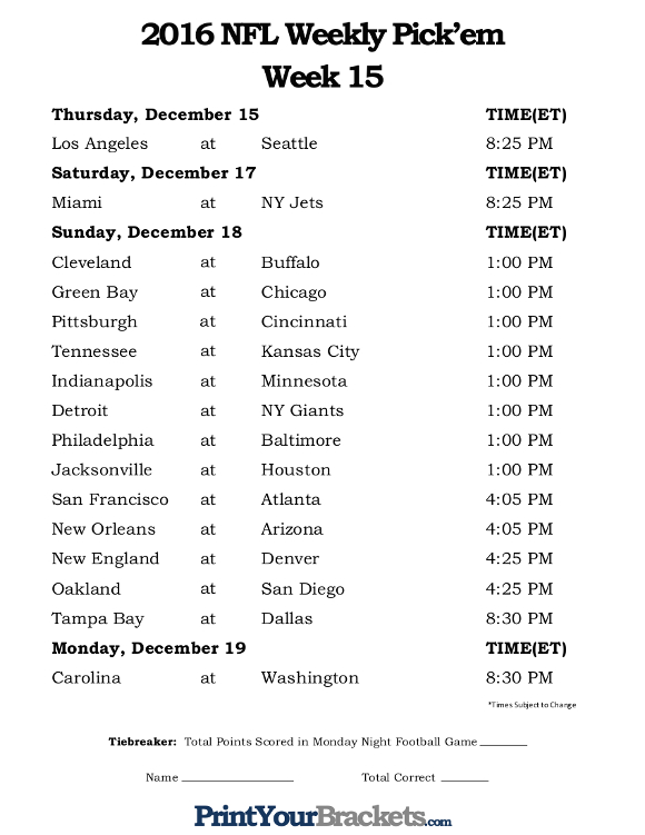Printable Week 15 NFL Schedule Pick Em Sheets
