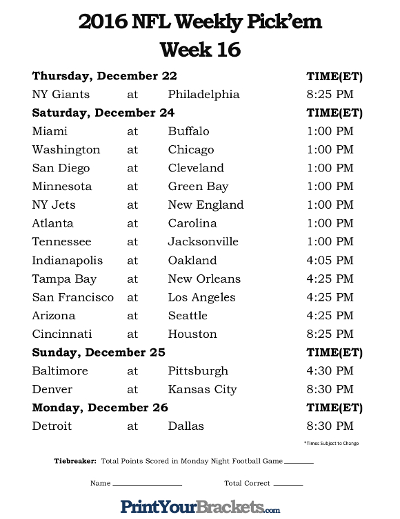 Printable Nfl Schedule Week 16 | Search Results | Calendar 2015