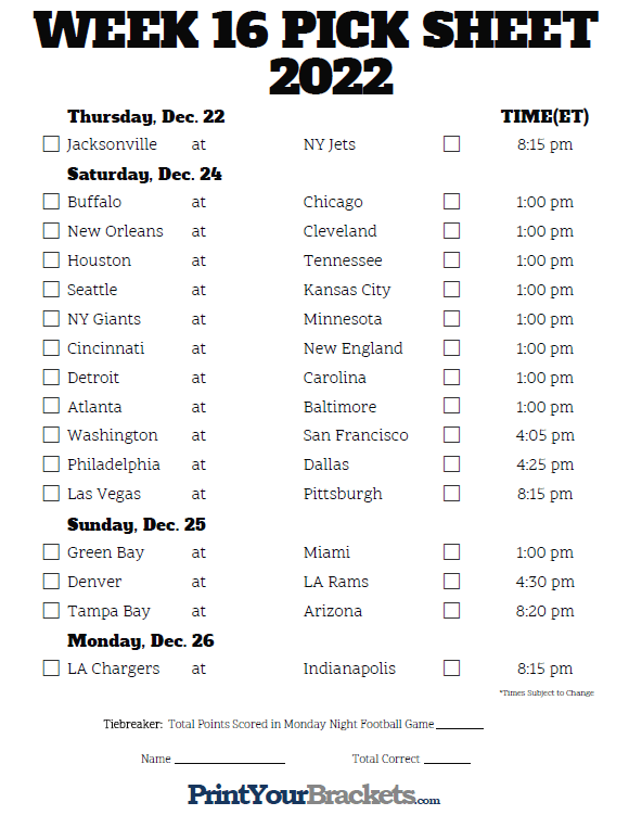 Sweet image throughout nfl week 16 printable schedule