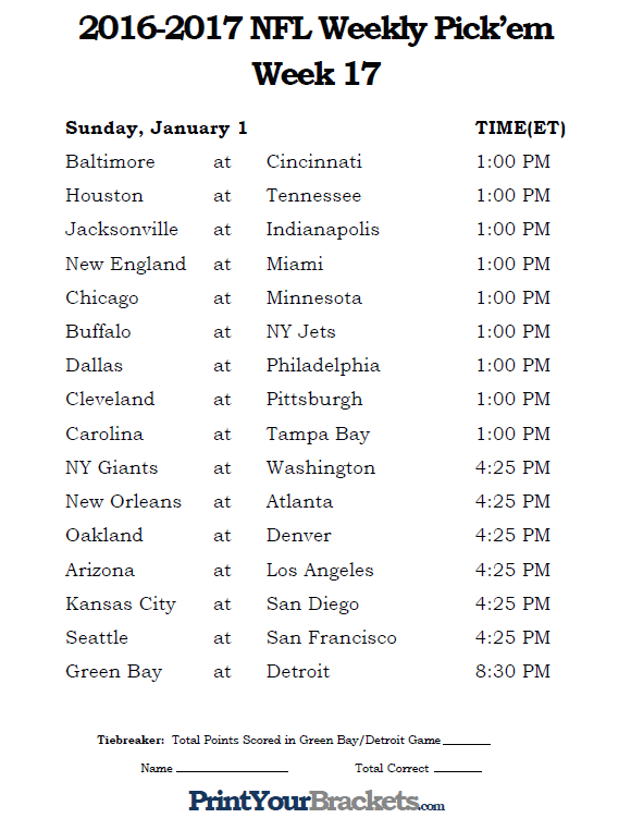Striking image throughout nfl week 16 printable schedule