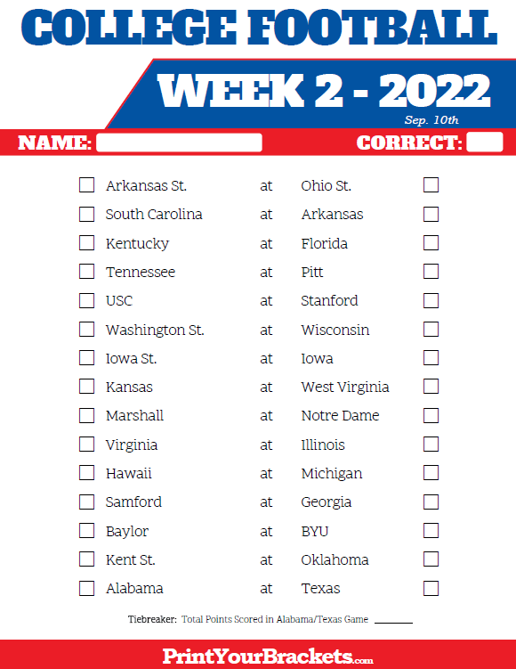 Printable College Football Week 2 Pick 'em Sheets